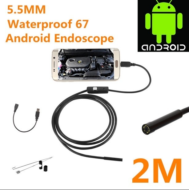 5.5mm waterproof 67 android endoscope borescope USB inspection camera HD6 LED 5