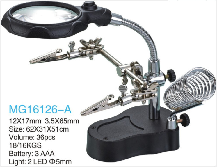 electric iron bracket with lights  magnifying glass for repair electrical board sculpture etc