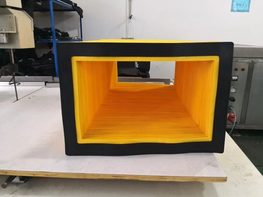 high quality   folded bellows yellow colour used for protect in CNC saw and CNC waterjet cutting machines .